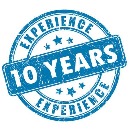 10 años de experiencia en estampillas Foto de archivo - 37426799