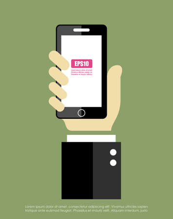holding smart phone: Hand with mobile phone Illustration