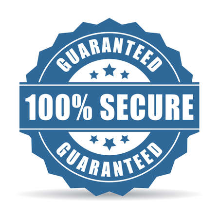 secure shopping: 100 secure icon Illustration