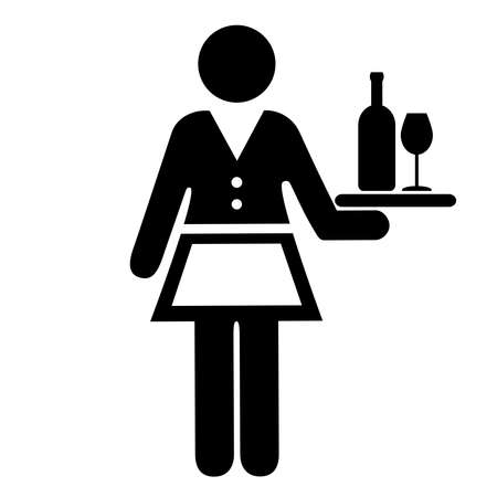 barmaid: Waitress vector icon