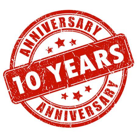 anniversaire: 10 années anniversaire timbre Illustration