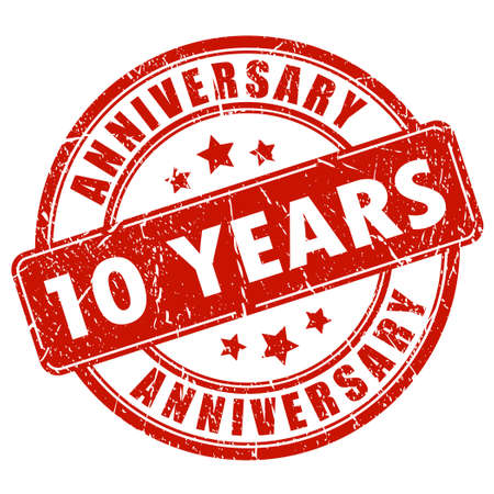 anniversary celebration: 10 years anniversary stamp