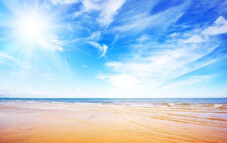 bursting: Blue sky and beach