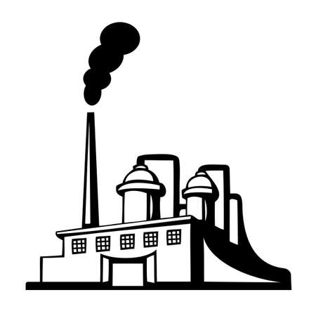 silhouette industrial factory: Factory icon