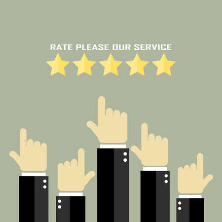 rising an arm: Rate our service poster Illustration