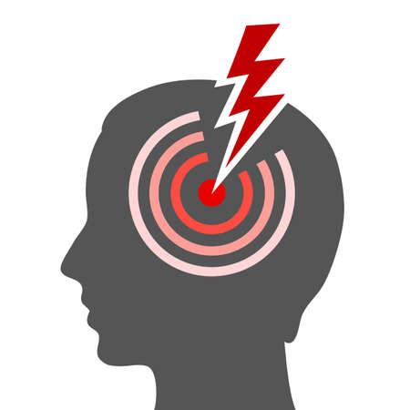 dolor de cabeza: Icono de vector de cabeza Vectores