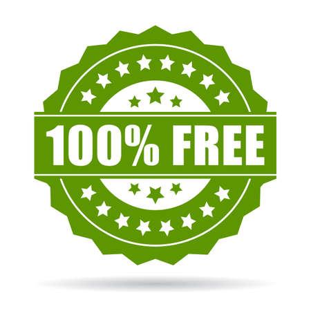 free button: 100 free icon Illustration