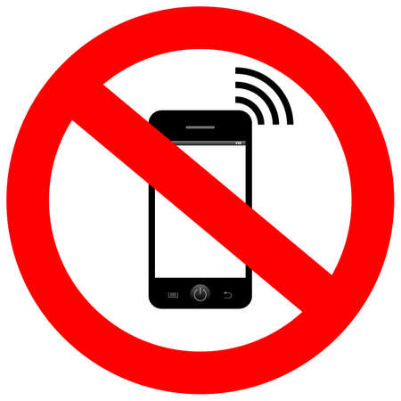 using phone: No mobile phone sign Illustration