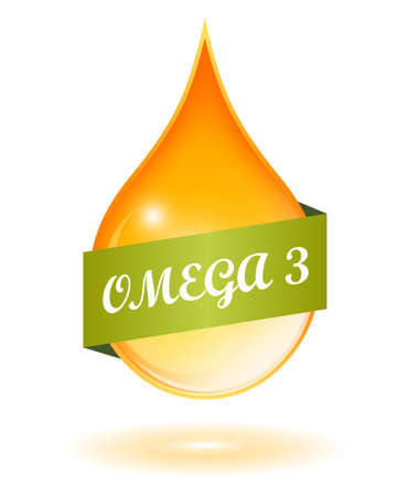 three colors: Fish oil and omega 3 icon Illustration