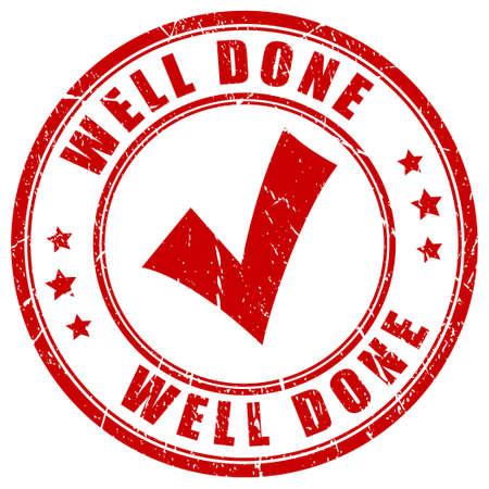 approval icon: Well done stamp Illustration