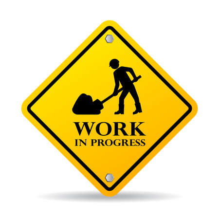 under construction sign with man: Work in progress sign