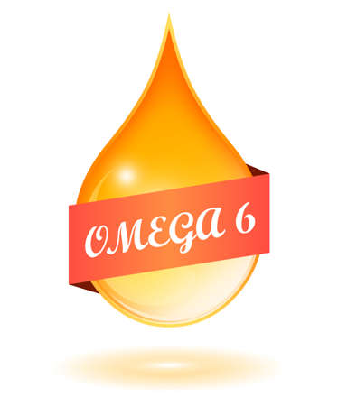 Vegetable oil drop and omega 6 icon Illustration