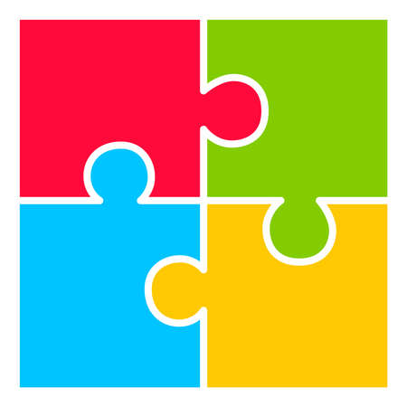Cztery części diagramu puzzle Ilustracje wektorowe