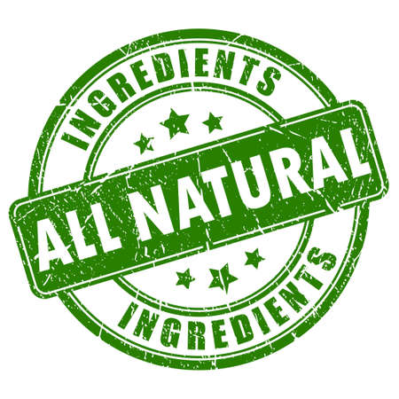 natural products: Todos los ingredientes naturales sello vector