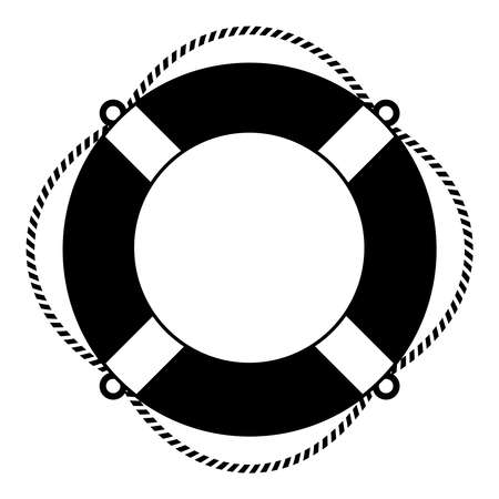 and marine life: Life ring icon Illustration
