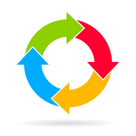 Four steps cycle diagram Vector
