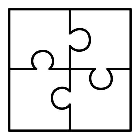 Four piece puzzle diagram Vectores