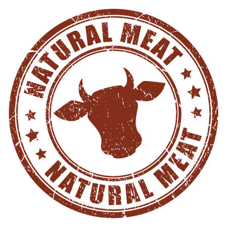 cow vector: Natural meat stamp