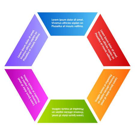 business process lifecycle: Haxagon six part diagram Illustration