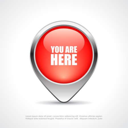 あなたがここで地図のマーカー  イラスト・ベクター素材