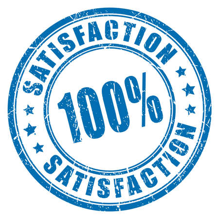Satisfaction guarantee rubber stamp