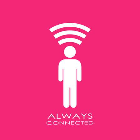 conexiones: Icono Siempre conectado Vectores