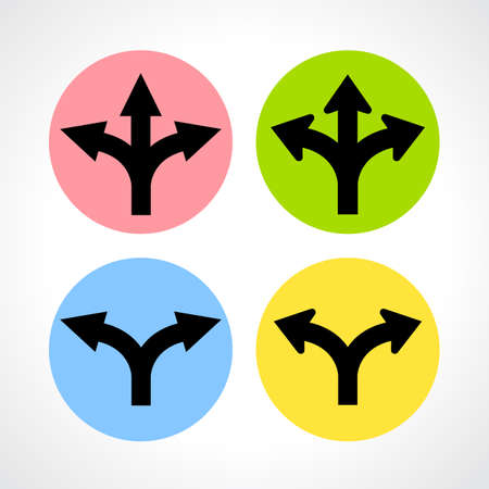 Two and three way fork icons Vector