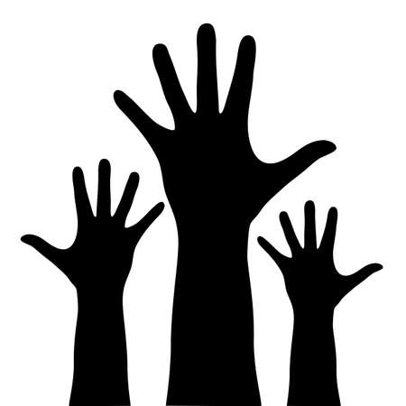 group of hands: Raised vector hands