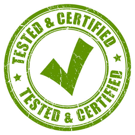 approved stamp: Tested and certified stamp