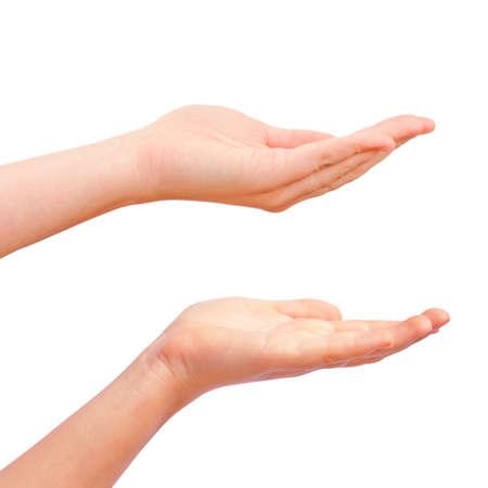Uitgestoken hand geïsoleerd op wit
