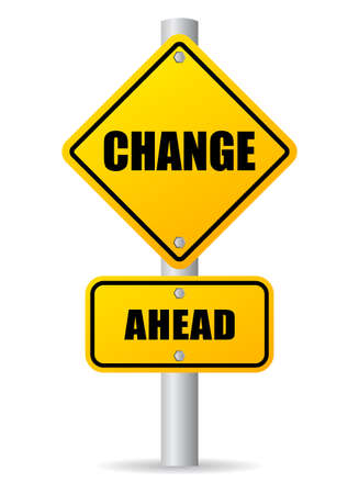 risk ahead: Change ahead road sign