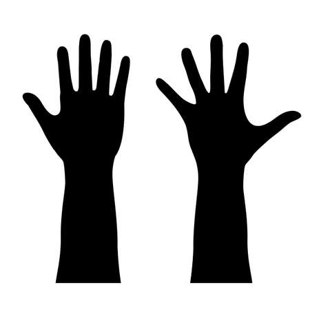 manos levantadas: Contorno humano de la mano