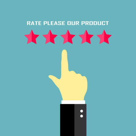 a placard: Rate our product placard