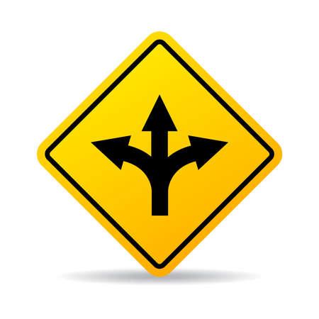Road fork sign Illustration