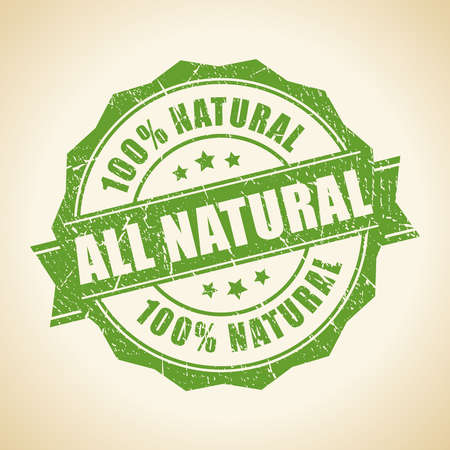 natural health: All natural green stamp Illustration