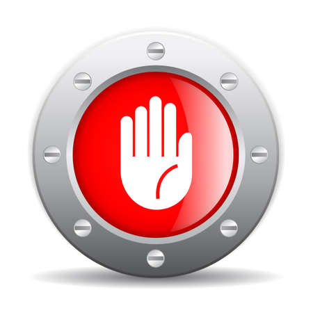 button glossy: Stop hand icon