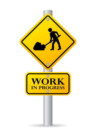 men at work sign: Road works in progress sign