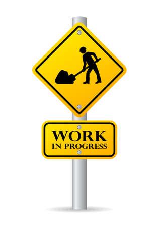 Weg werken in uitvoering teken Stockfoto - 43554884