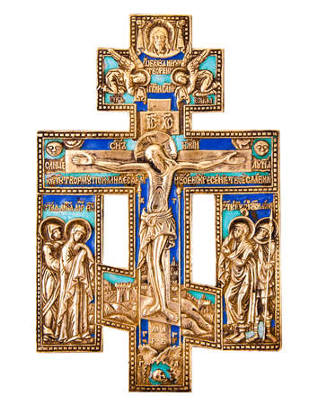 iconography: Antique orthodox brass cross Stock Photo