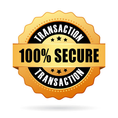 transaction: 100 secure transaction icon Illustration