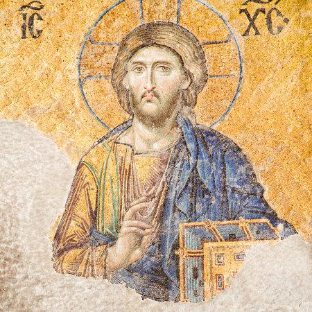 Istanbul, Turkije - 24 juni 2015: Jezus Christus mozaïek in Hagia Sophia Redactioneel