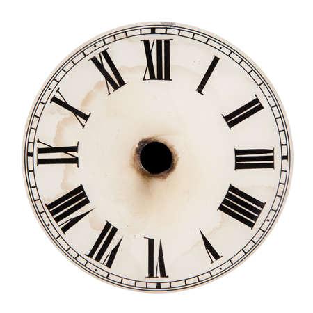 orologi antichi: Quadrante di orologio in bianco senza mani Archivio Fotografico