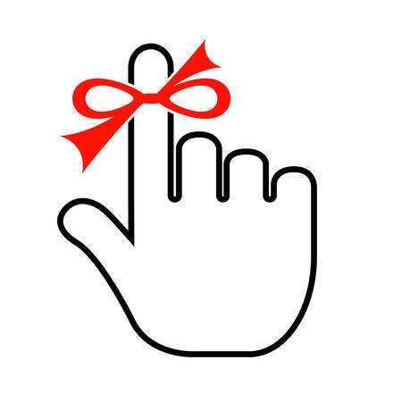 Finger with red string Illustration