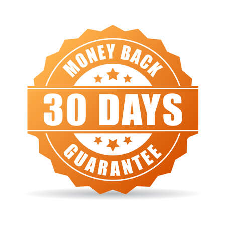 back: 30 days money back guarantee icon Illustration