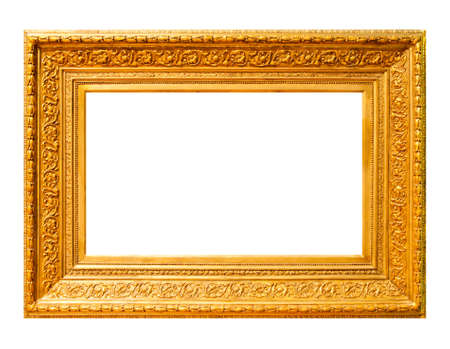 framed picture: Gold wood frame isolated on white