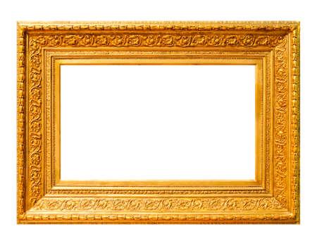 marco madera: Marco de madera de oro aislado en blanco