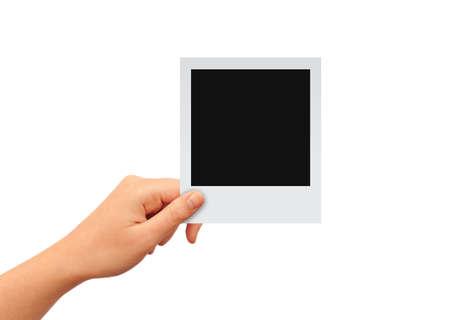빈 사진 카드와 손, 당신의 이미지를 추가 스톡 콘텐츠
