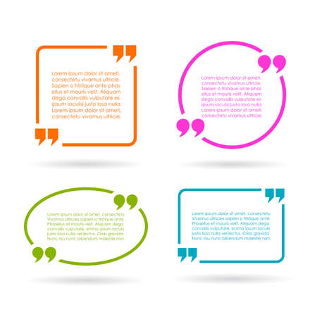 citing: Quote text boxes isolated on white background Illustration