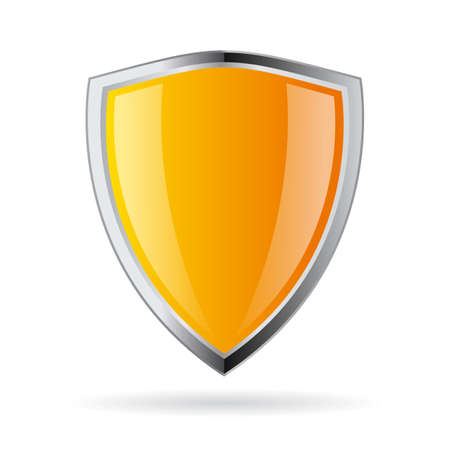 Yellow shield icon Фото со стока - 46556439