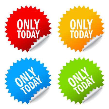 business time: Only today, sale offer stickers